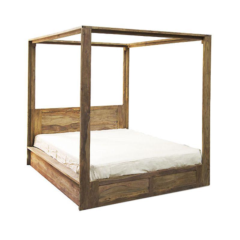 lit baldaquin en bois de shisham naturel hoodal lits de jardin pinterest baldaquin lits. Black Bedroom Furniture Sets. Home Design Ideas