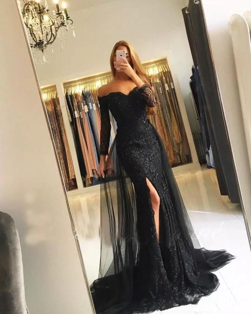 d375ad227e Black Muslim Evening Dresses 2018 Mermaid 3/4 Sleeves Lace Beaded ...