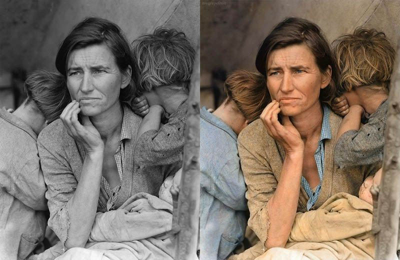 This is Migrant Mother by Dorothea Lange colourized by Sanna Dullaway, more than 34 other famous historical pictures colourized. THIS IS AMAZING!!