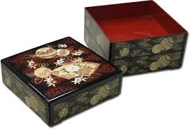 Jubako a lacquered lunch boxes used for special occasions such as new years celebration. 3 to 5 layers are stuck on each other and decorated with beautiful motives. They also can be used as decoration or as a special picnic lunchbox.
