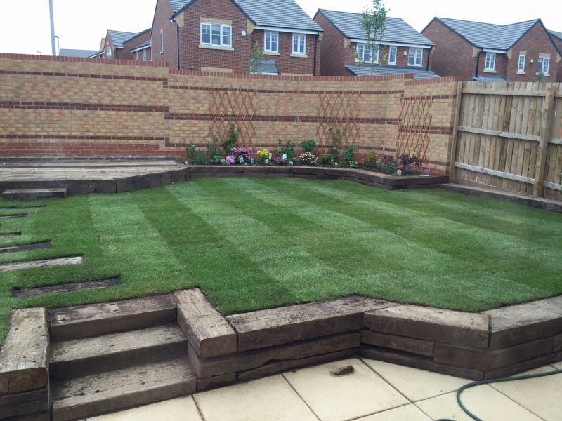Railway sleeper steps, beds and patio | Sloped garden ...