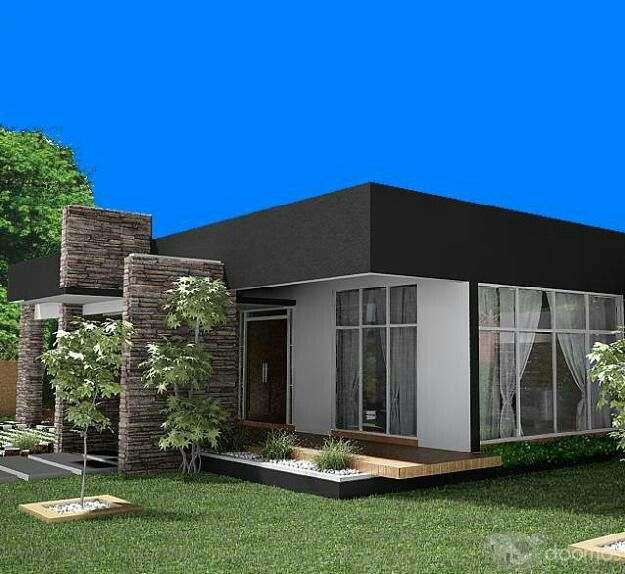 Casa moderna una sola planta fachada pinterest casas for Fachadas modernas de una planta