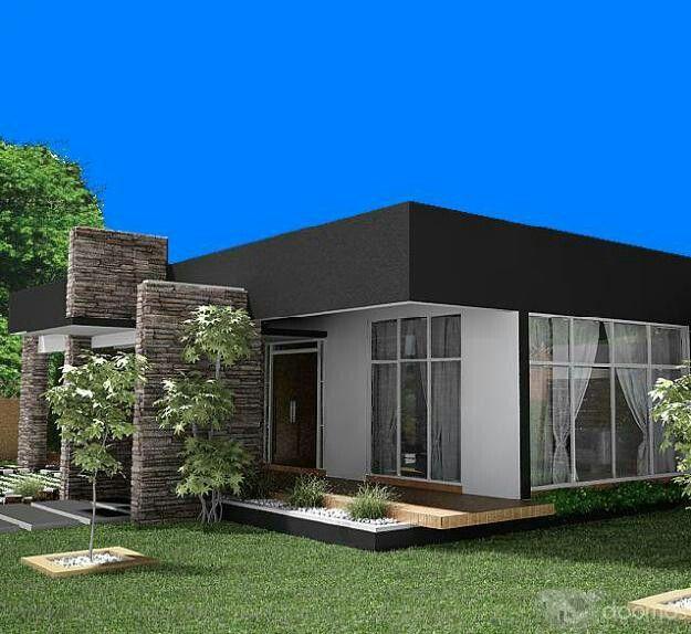 Casa moderna una sola planta fachada pinterest casas for Fachadas de casas modernas de una planta