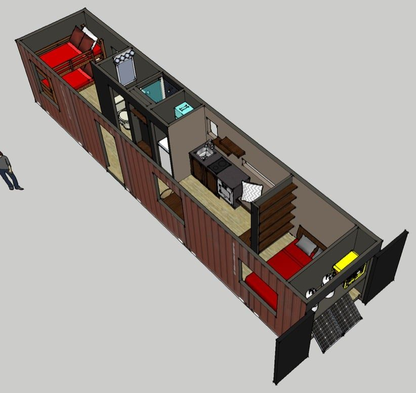 40 Ft Container Home For Off-the Grid Minimalist Living