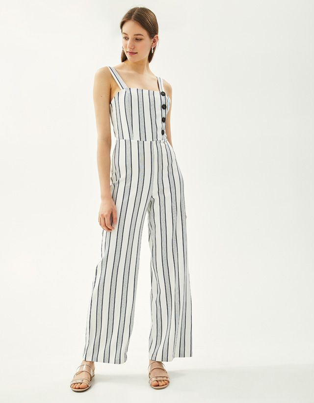 7c2c91c163a1 Striped jumpsuit with buttons - Bershka  fashion  product  new  newin   trend  trendy  yellow  blue  rustic  summer  spring  cool  girl  young   outfit ...