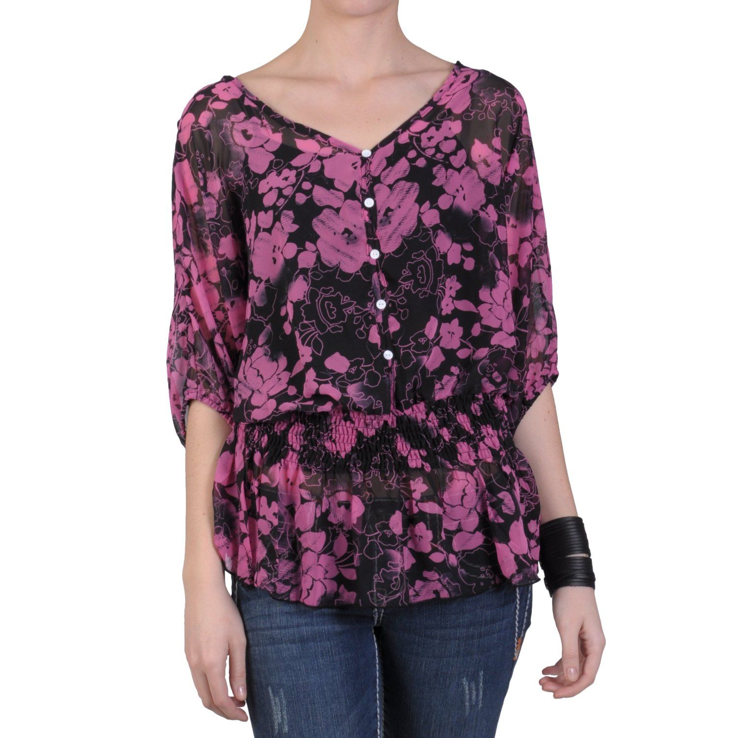 Hailey Jeans Co Womens Sheer Smocked Button Accent Blouse