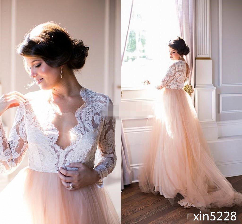 Boho bohemian wedding dress lace v neck champagne bridal gown size