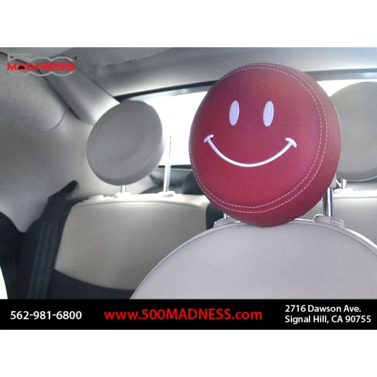 FIAT 500 Headrest Covers (2) - Red w/ White Happy Face (Front - set