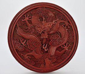 18C Chinese Cinnabar Lacquer Dragon Round Box