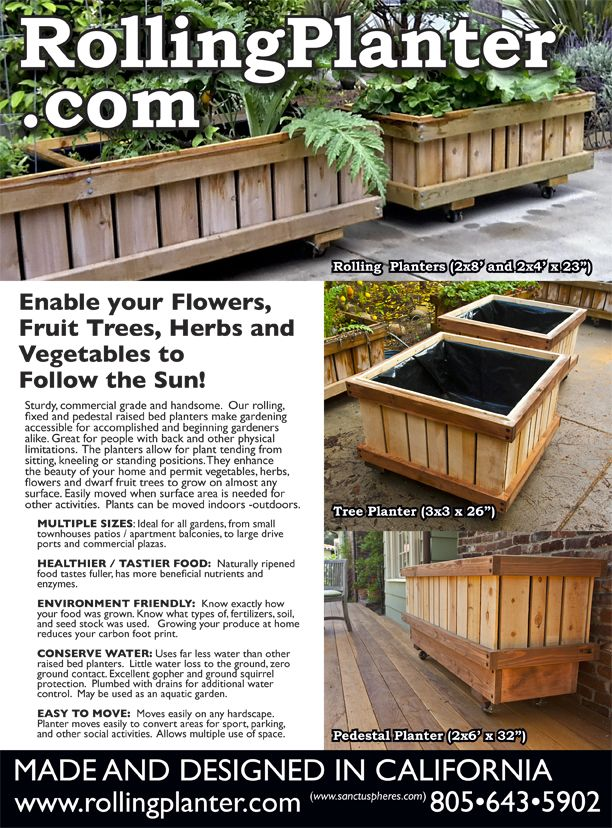 Commercial Quality Rolling Planter Grow Almost Anything In Our Planter You Desire Best For Plants That Need Deep Roots Most Plants R Planters Planting Flowers Farm Plans