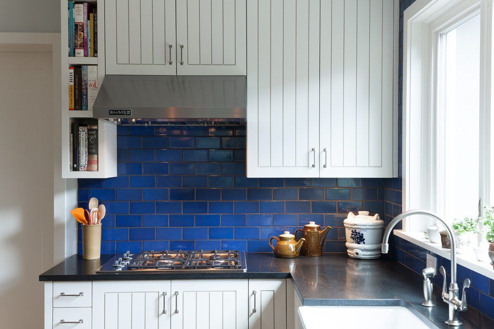 Cobalt Blue Backsplash Kitchen Contemporary With Bold Color Black