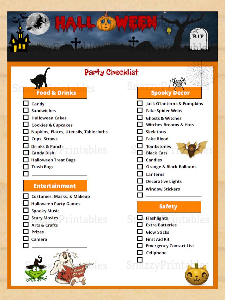 Halloween Party Checklist Printable Instant Download PDF