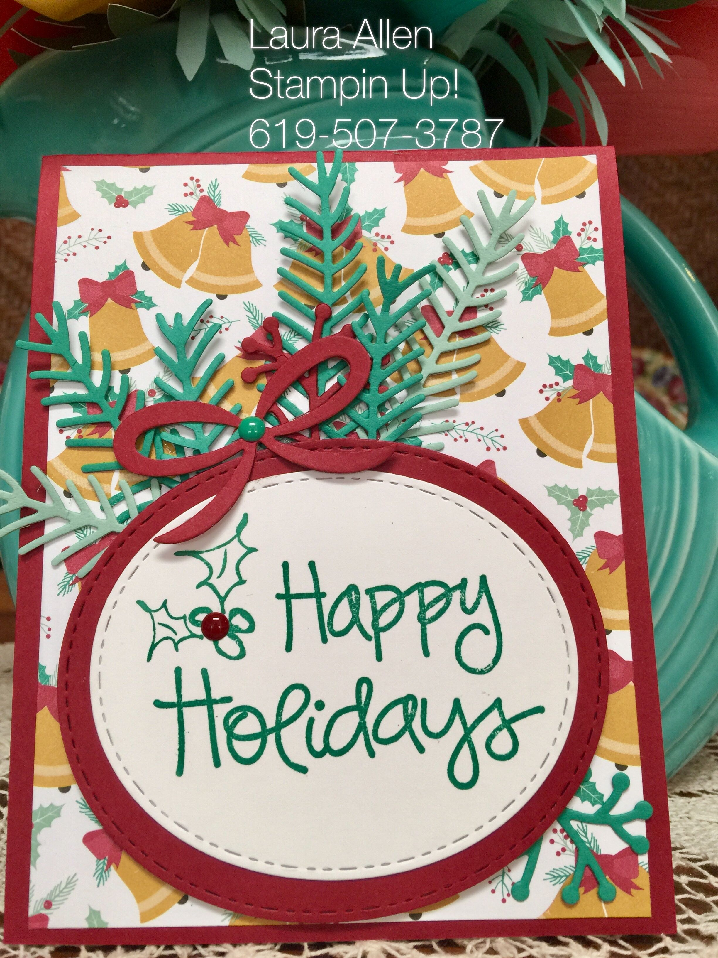 I used Presents & Pinecones DSP. I used the Christmas Pines Dies from Stampin Up!