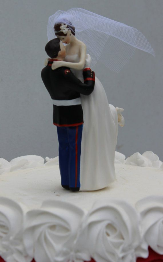 Military USMC Marine Corps Wedding Cake Topper Bride uniform ...