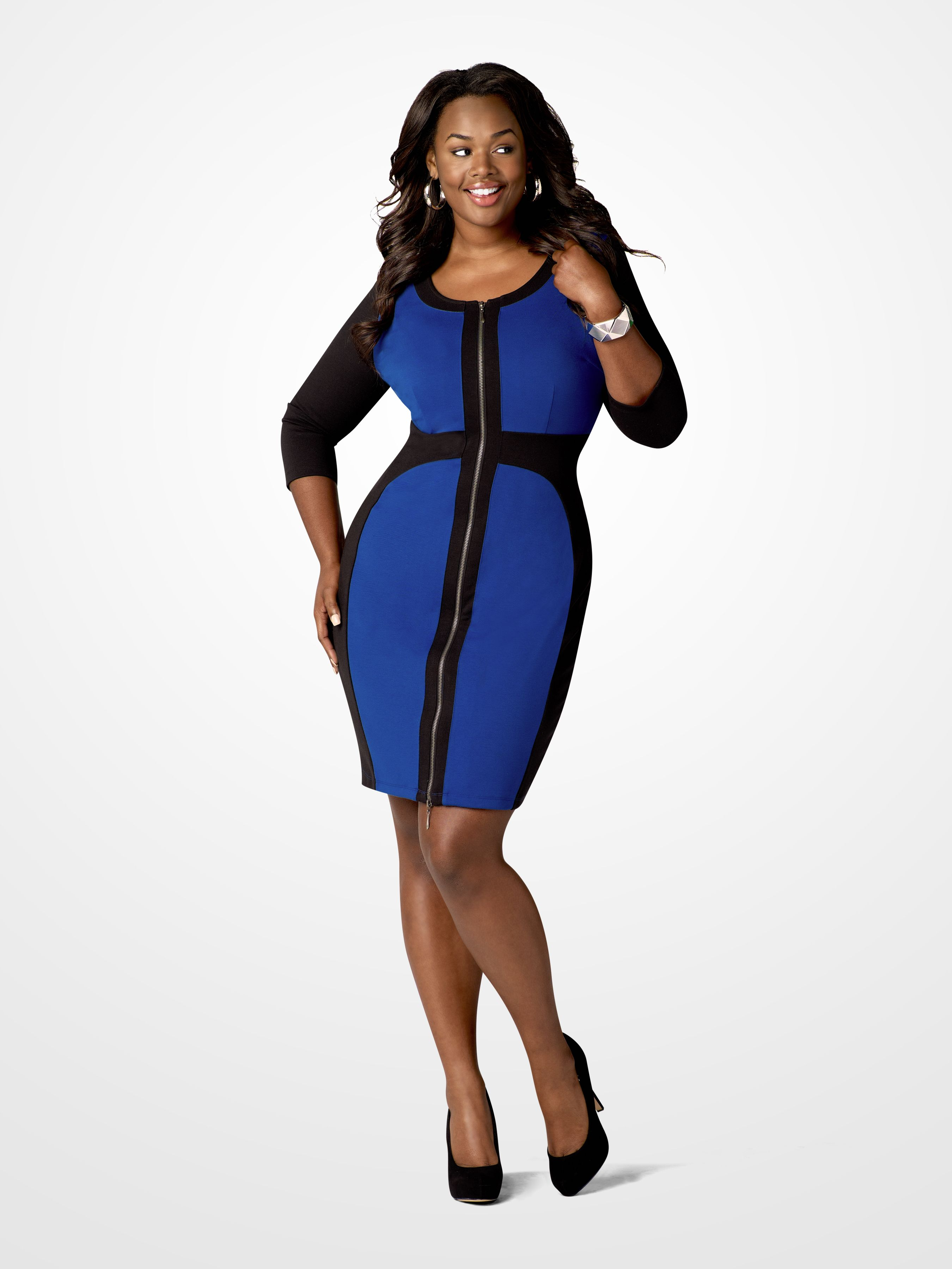 09809e9dc6 Wear this royal blue and black colorblock zipper dress on a night out with  the beau