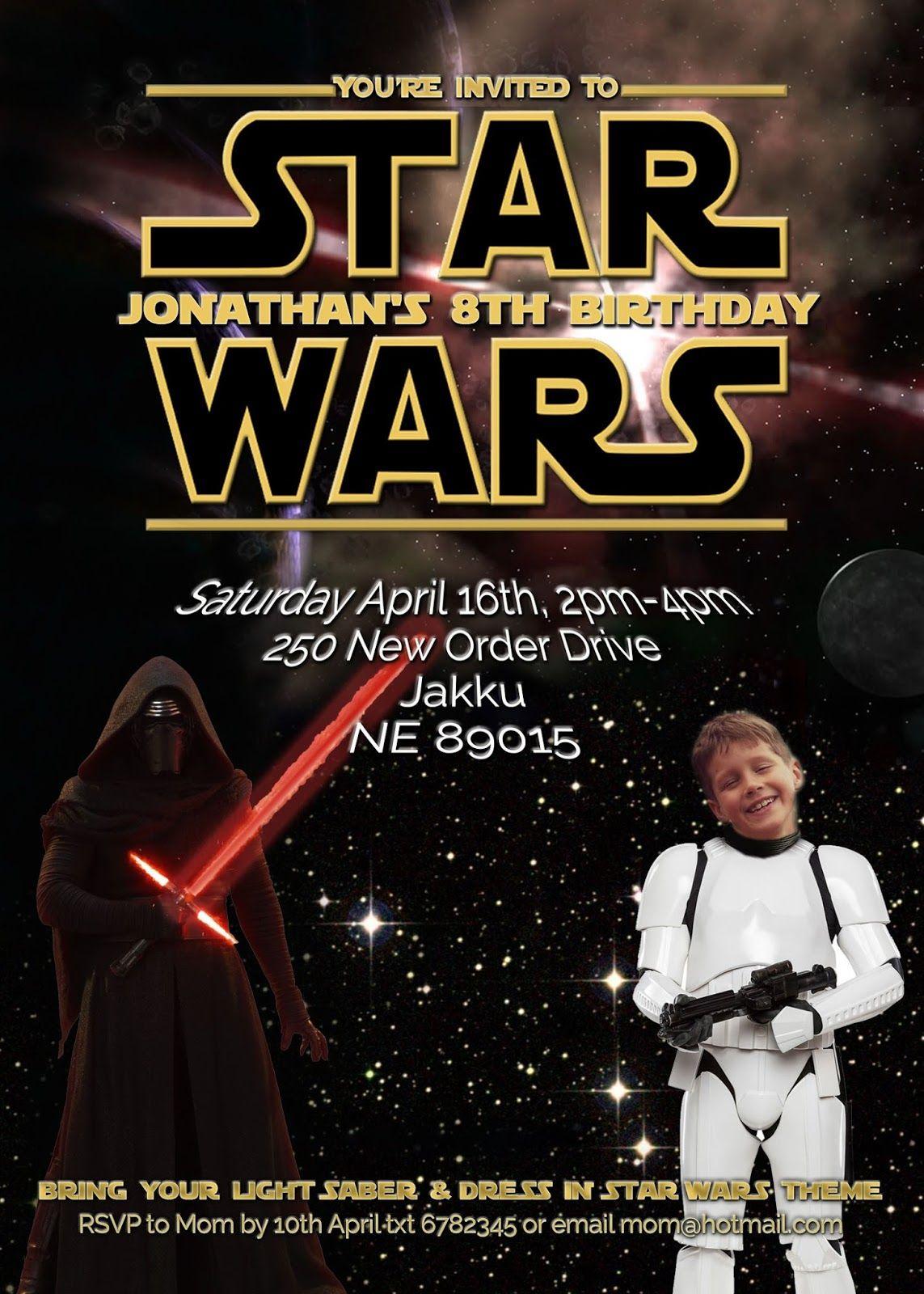 free kids party invitations star wars