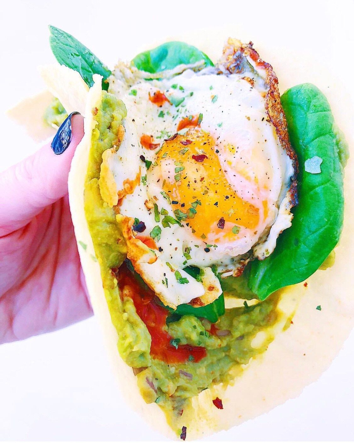 Easy gluten free breakfast tacos with a fried egg recipe