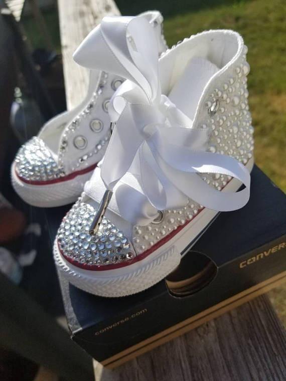 TODDLER Hi-top Wedding White Pearl Swarovski Rhinestone Bling Converse  Chuck Taylor Shoes