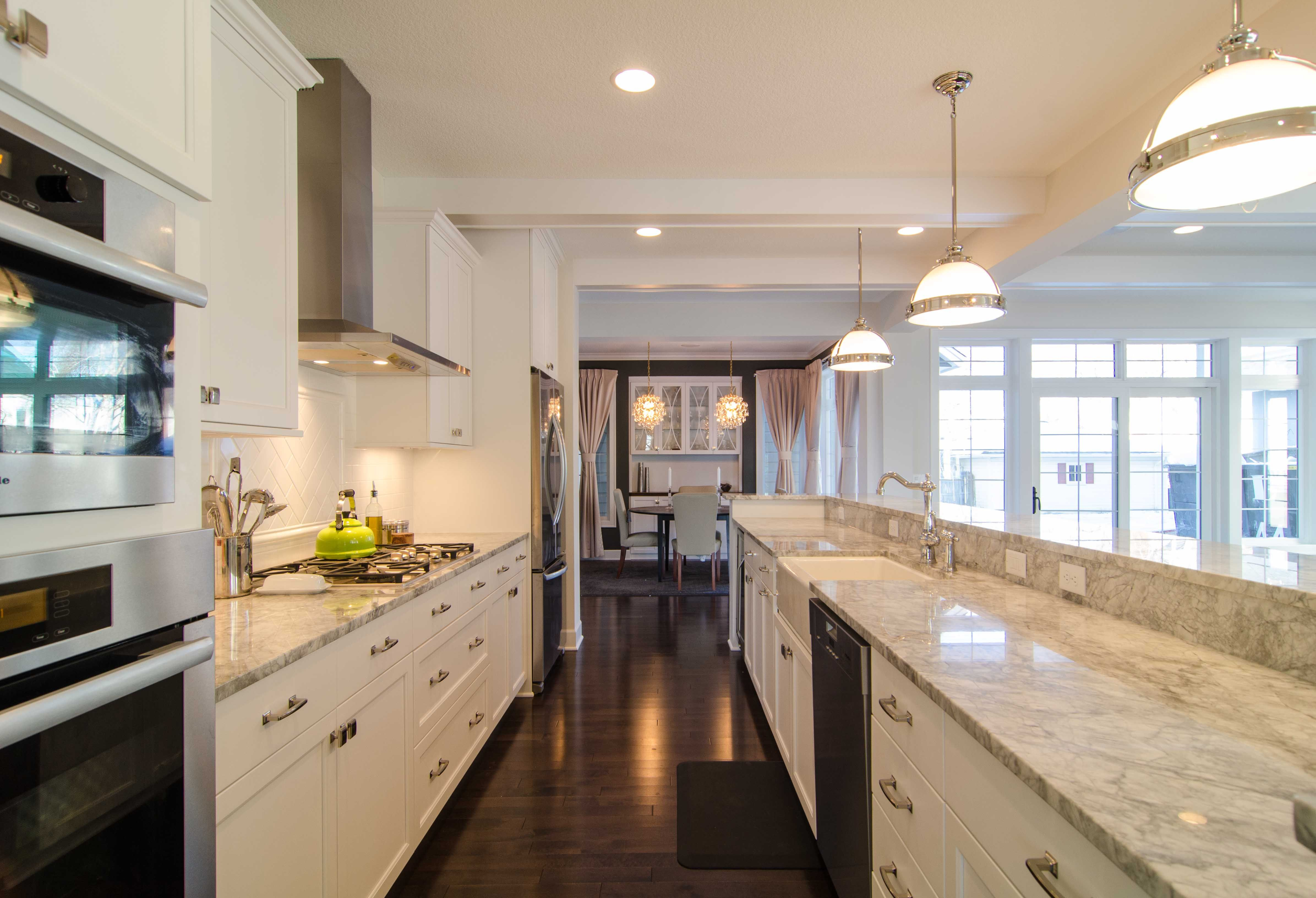 Interior,White Furnishing Galley Kitchen Ideas With Small Place As Well As White Marble Tops And Dark Wood Floors In Luxurious Kitchen Ideas ,Wonderful Galley Kitchen Ideas For Space Efficiency