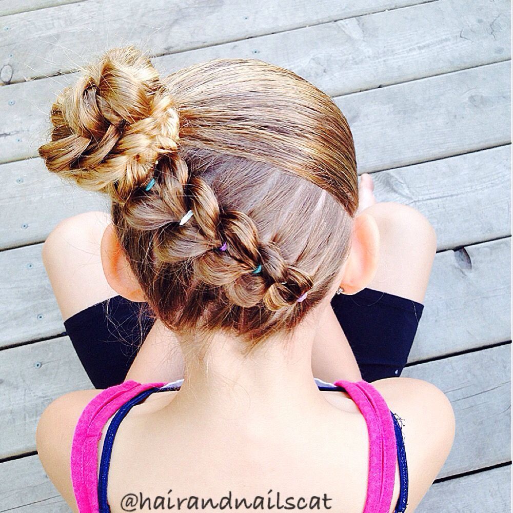 Diagonal upside down pull through braid into fishtail bun belleza