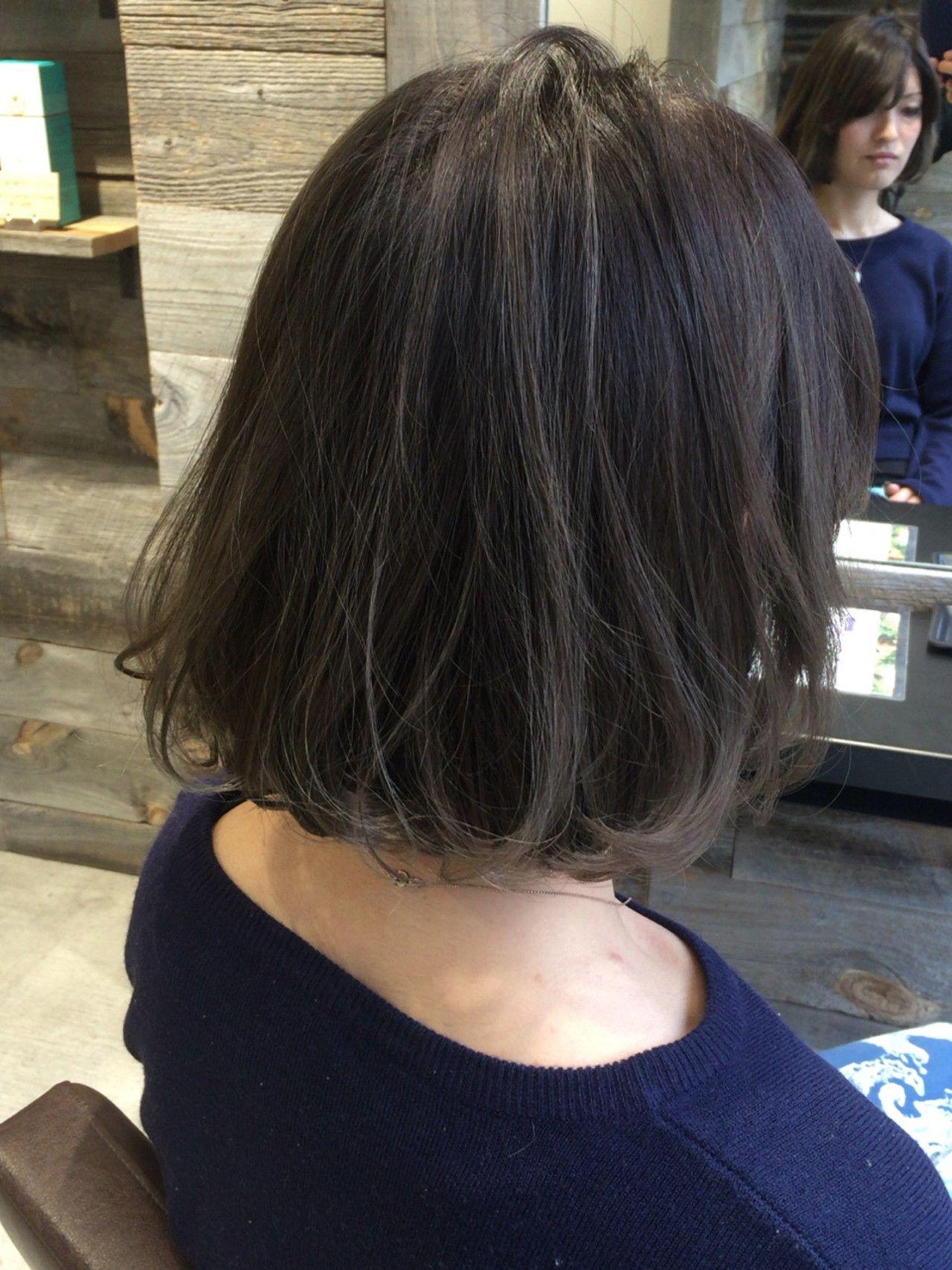 根元コントラストグラデーションヘア ハイライトグラデーション 暗髪