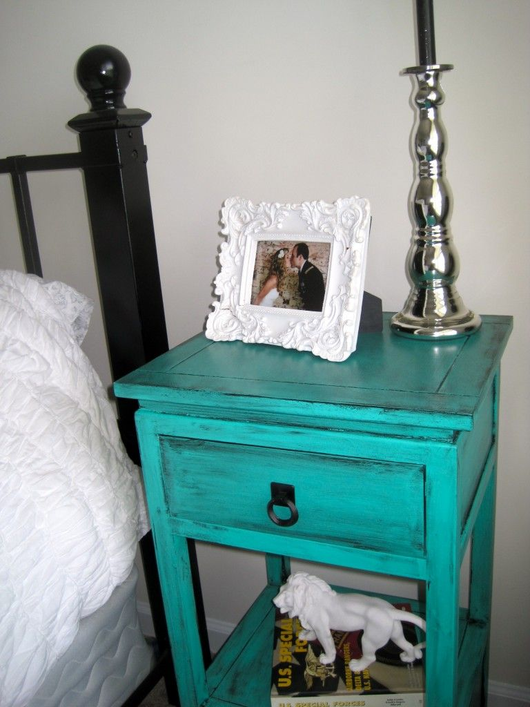 black/white/silver/tantalizing teal - nightstands | master bedroom