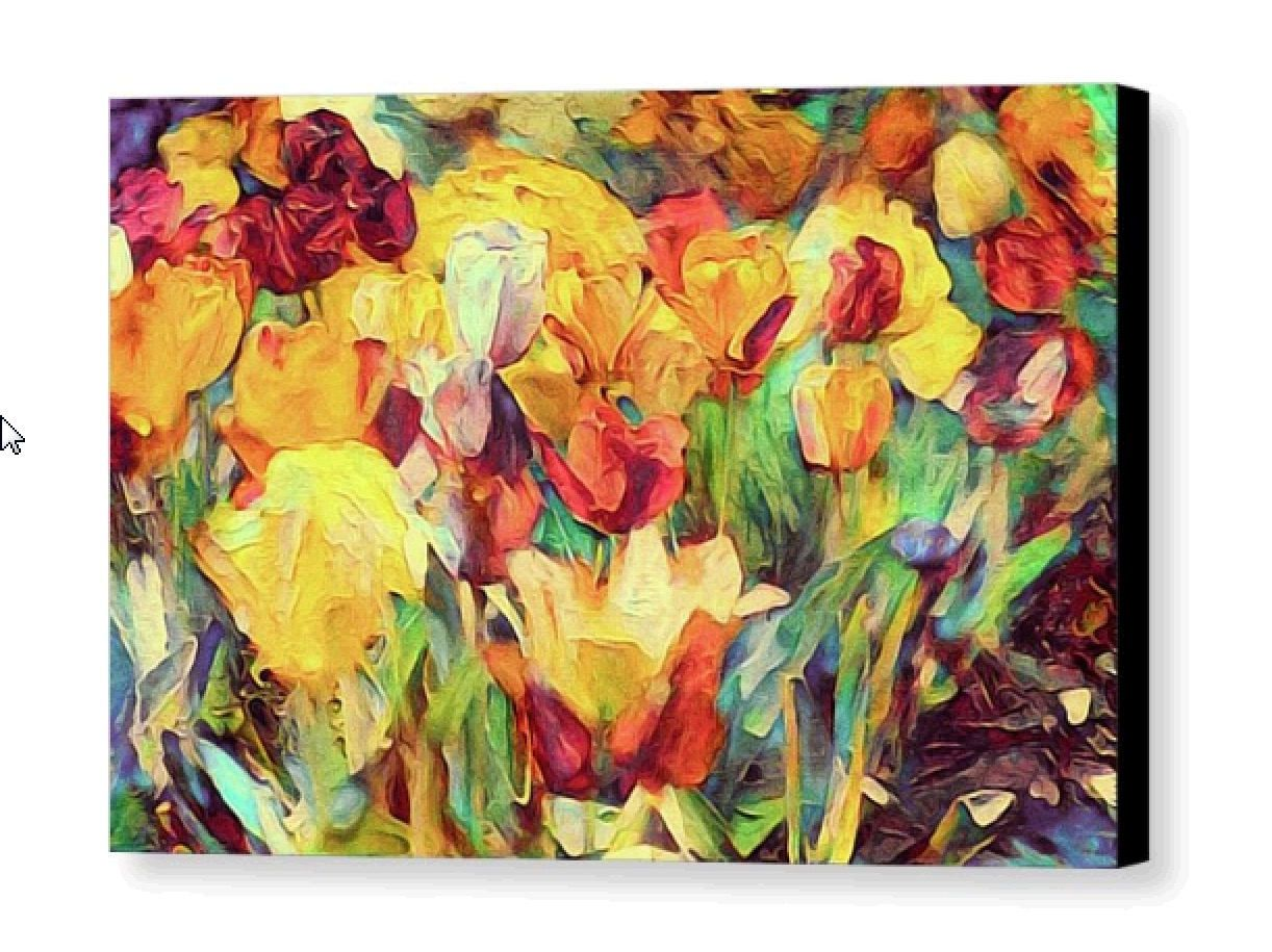 Modern Floral Canvas Print; Red, Peach, Green & Yellow Botanical ...
