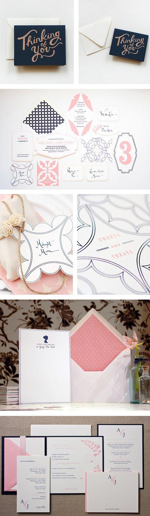Adore these navy and pink wedding invitations #maggiespantonepicks