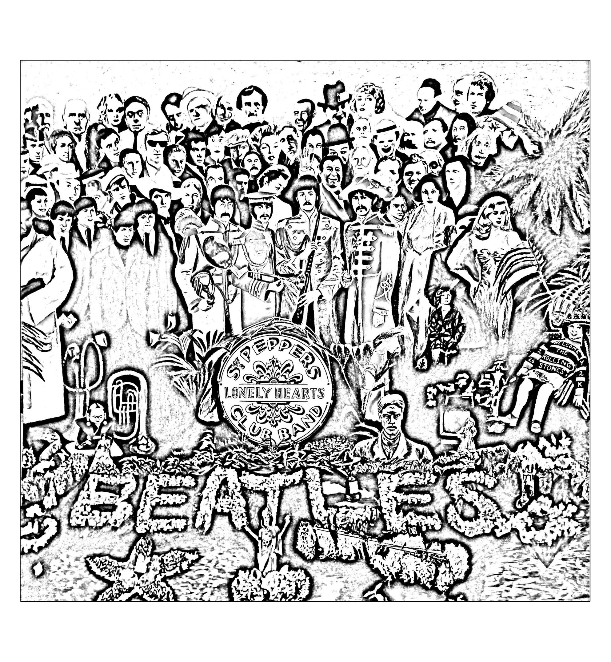An Adult Coloring Page Inspired By The Beatles Album Sgt Peppers Lonely Hearts Club Band