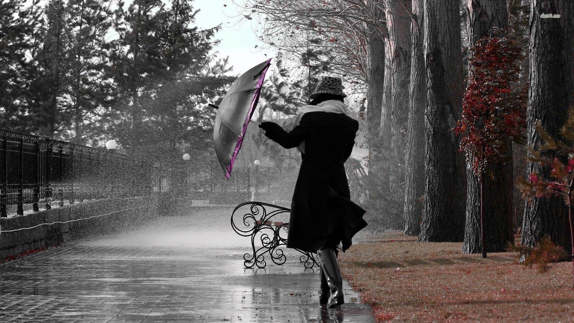 girl in the autumn rain   photography - painting art - art