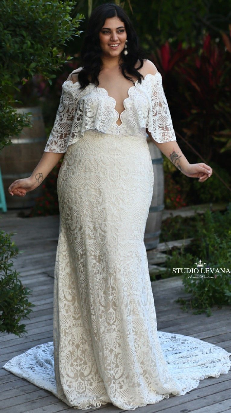 9586626913f Bohemian mermaid lace wedding gown with off shoulder sleeves from plus size  boho dreams collection of Studio Levana