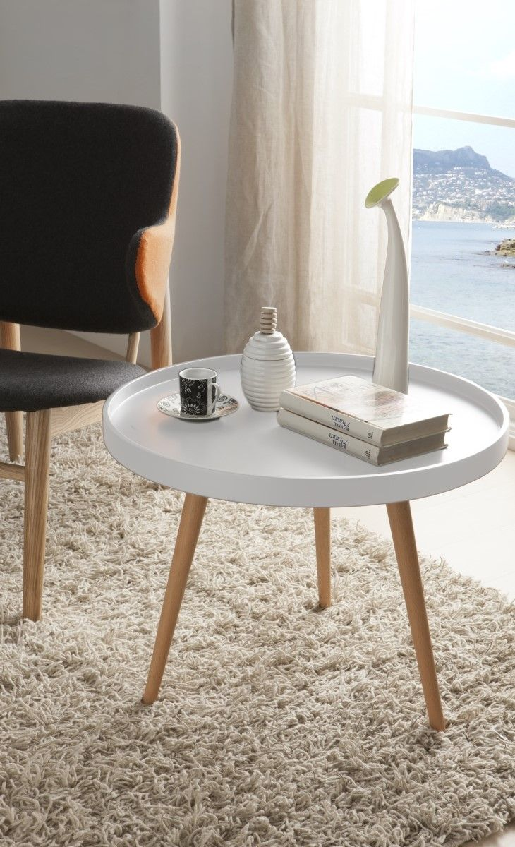 Round White Side Table With Wooden Legs To Style A Scandi Living