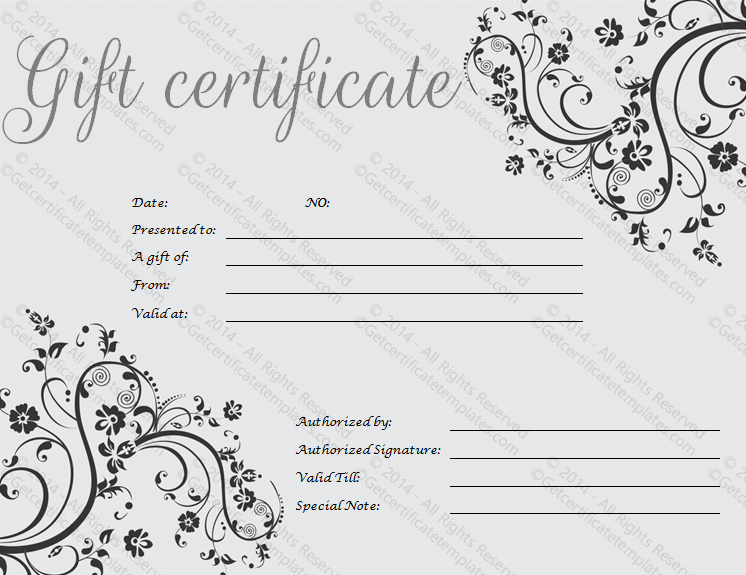 Black Art Gift Certificate Template  Photography