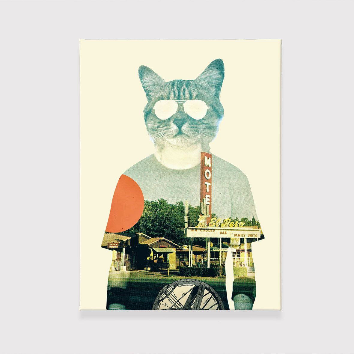 Cool cat canvas print colorful animal wall art funny cat