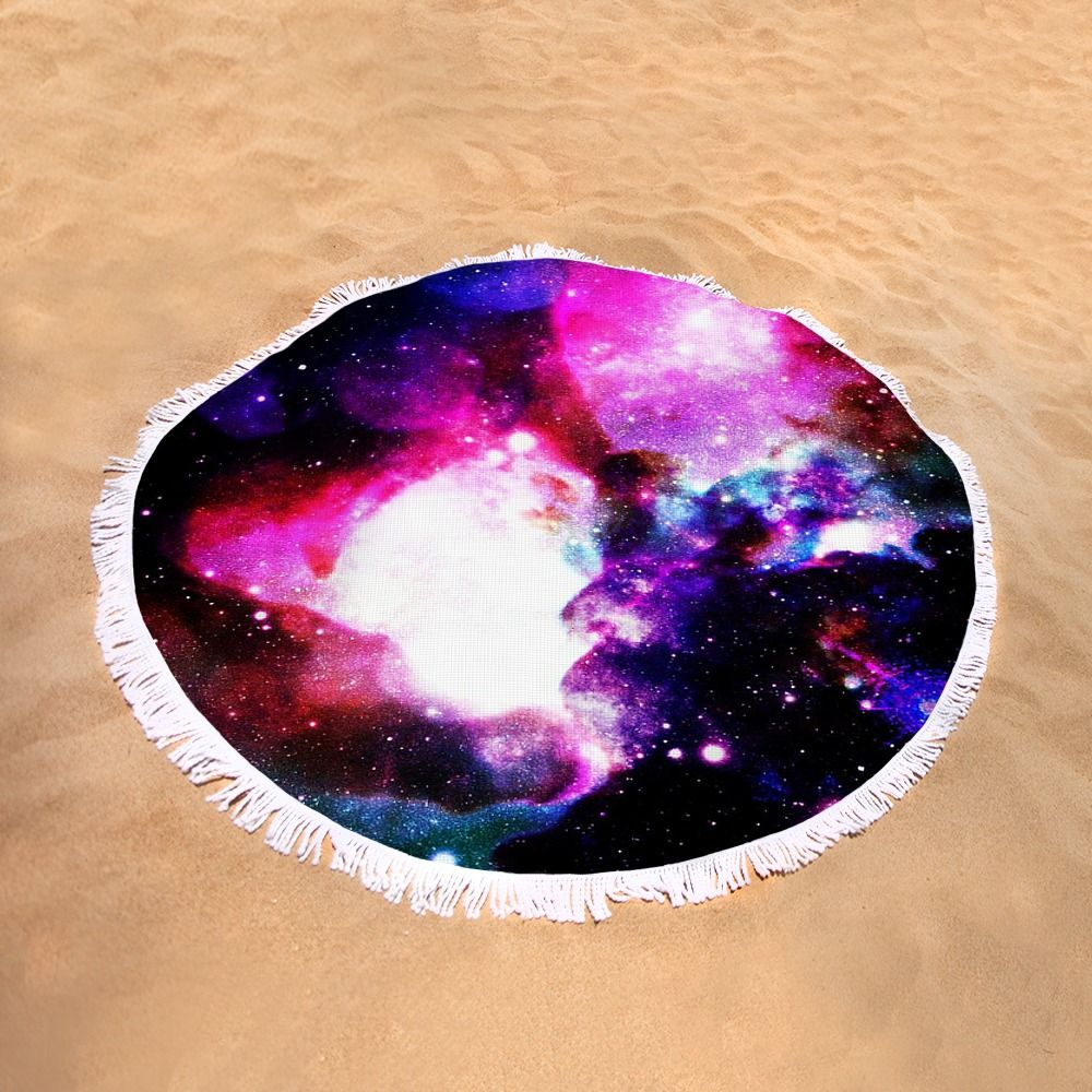 "Purple Galaxy Round Beach Towel by Johari Smith.  The beach towel is 60"" in diameter and made from 100% polyester fabric."