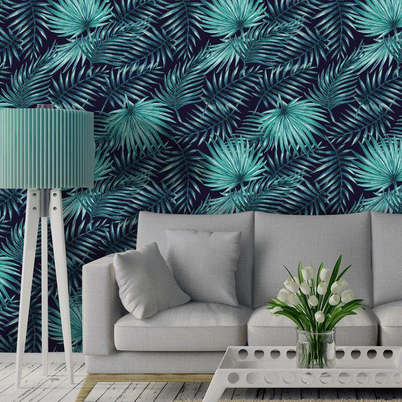 Peler et coller le papier peint en bleu marine foncée et turquoise fond décran amovible pour décoration dintérieur facile à appliquer w1059