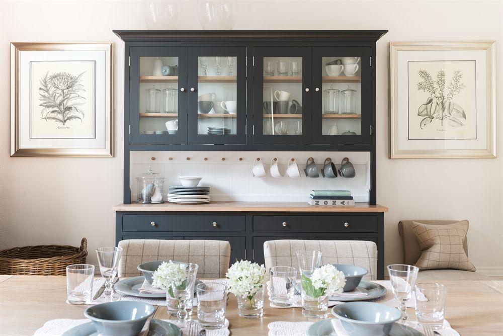 Neptune Suffolk Glazed Rack Dresser 6ft In Charcoal Dining Room