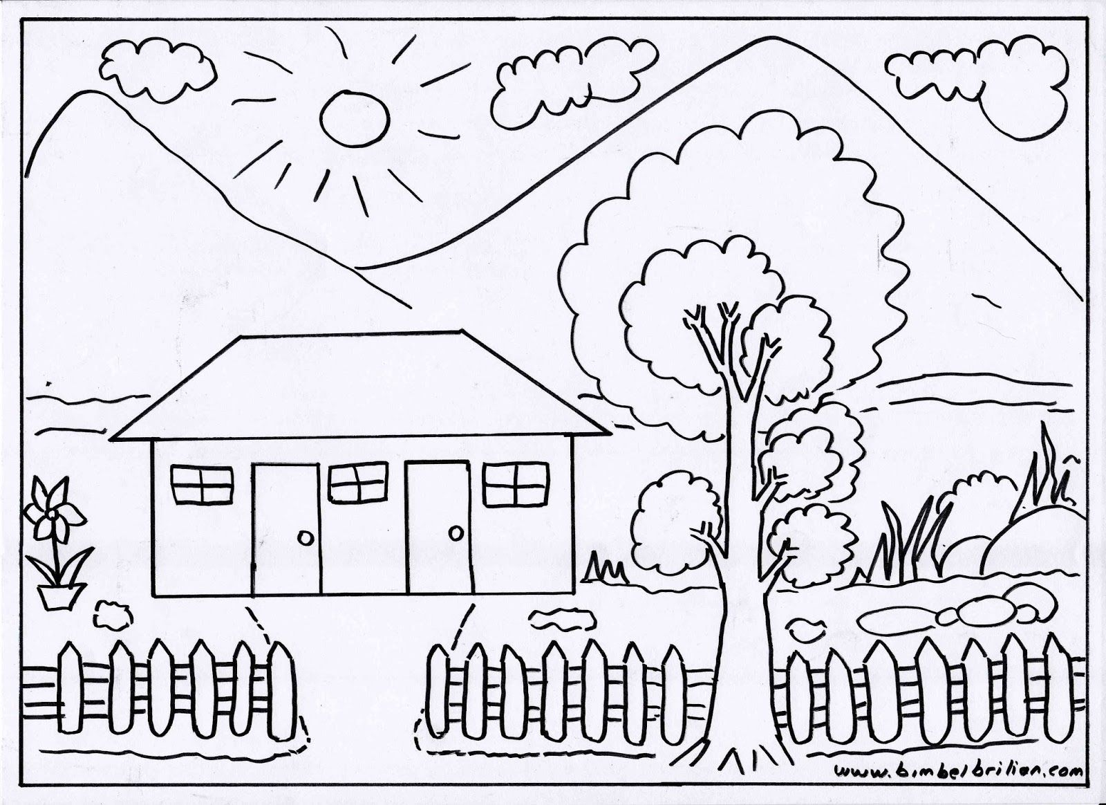 gambar mewarnai rumah dan pemandangan buku mewarnai