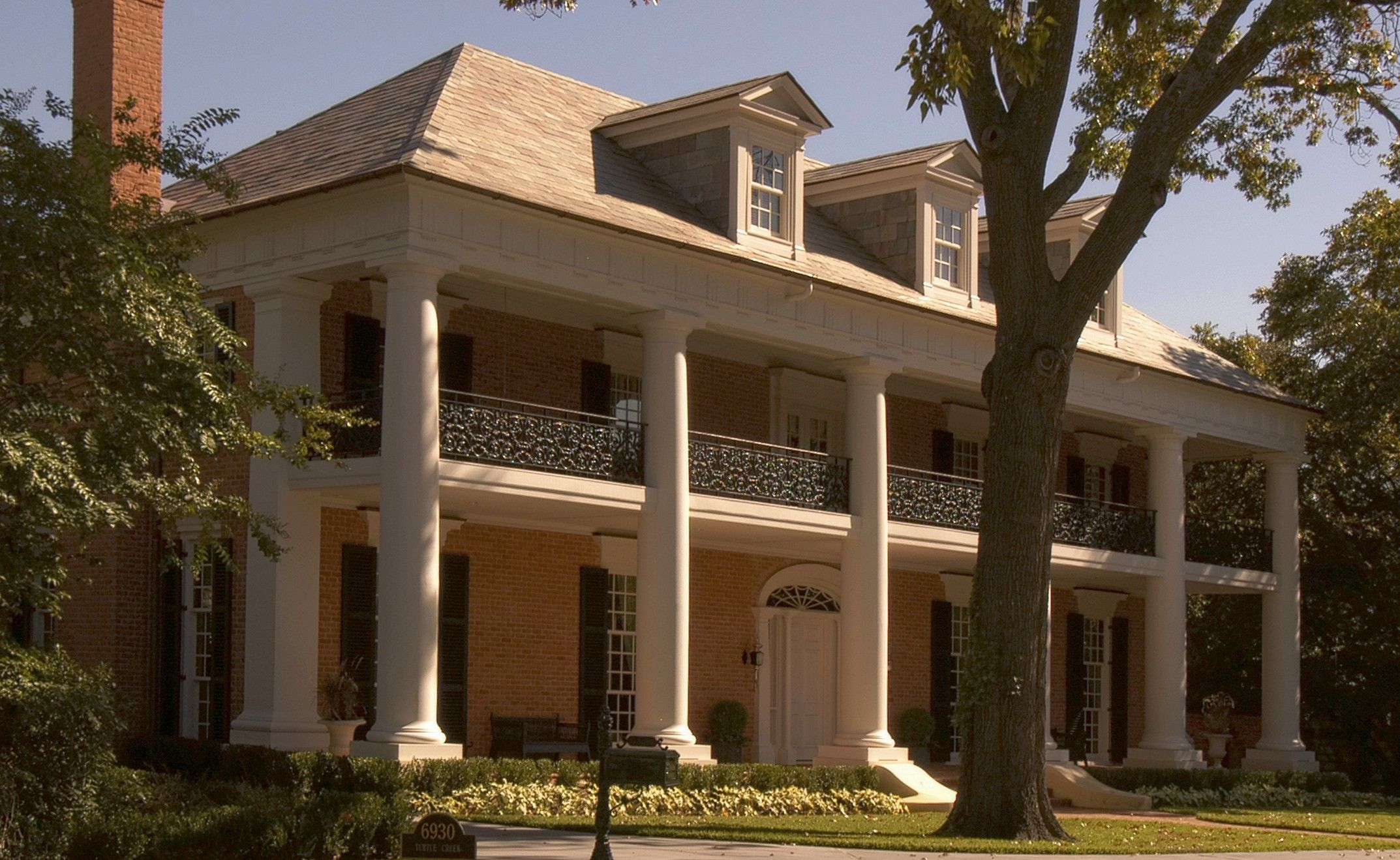Front Colonnade, With Front Porch And Deck Balcony Of A Greek Revival Lower Mississippi  Valley