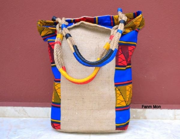 African print and Burlap shoulder bucket bag tote ethnic tribal bohemian nomads travel handbag