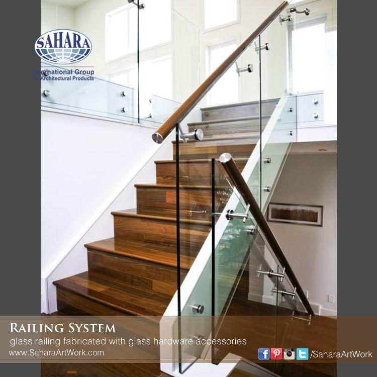 Glass Railing With Mahogany Handrail Fabricated With | Mahogany Handrails For Stairs