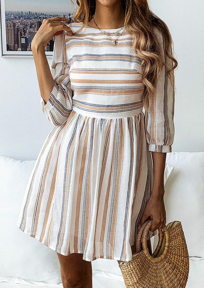 Striped Ruffled O-Neck Mini Dress