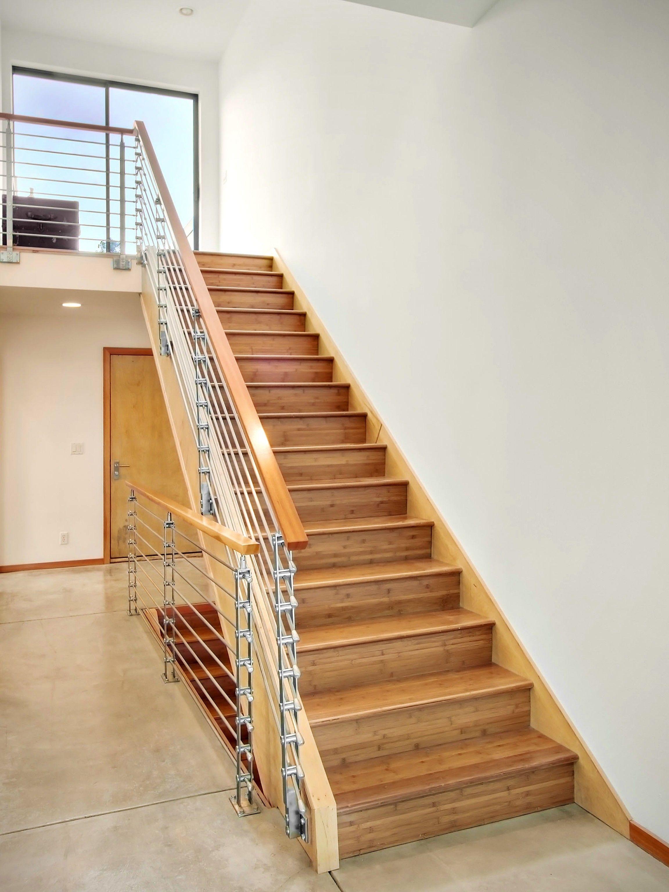 Interior Wood Stairs: Pleasant Modern Wood Stair Railings Design ...