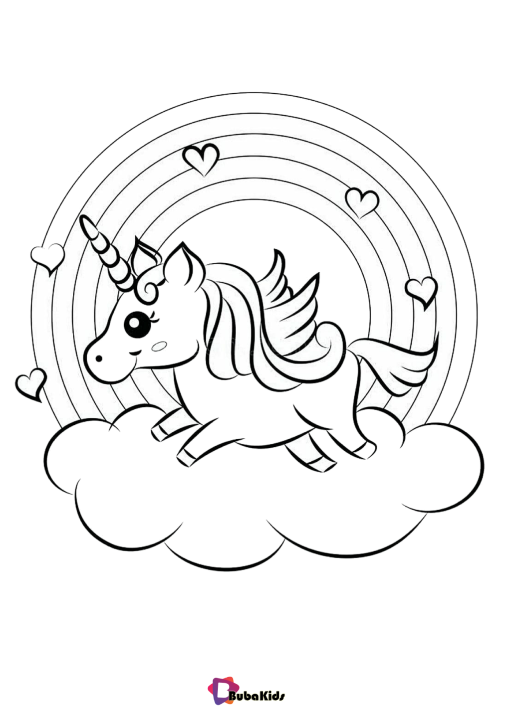 Rainbow And Unicorn With Cloud Coloring Pages Bubakids Com Unicorn Coloring Pages Free Coloring Sheets Coloring Pages