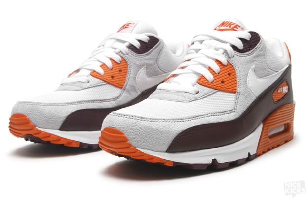 sports shoes 37bf2 e49f8 Nike Air Max 90 Red Mahogany White-Neutral Grey-Safety Orange