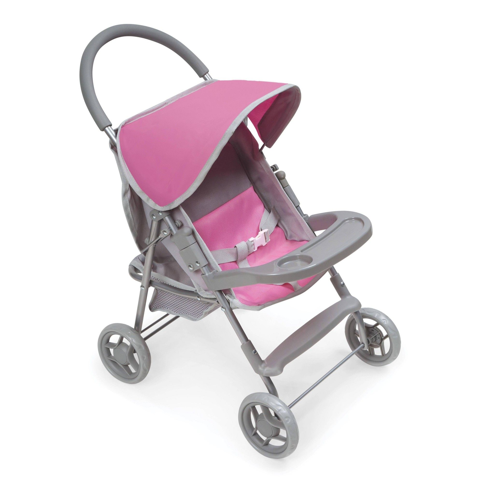 Glide Folding Single Doll Stroller Gray/Pink Stroller
