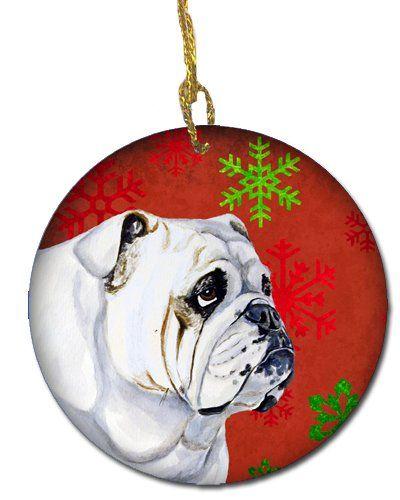 Carolines Treasures Lh9319co1 Bulldog English Red Snowflake Holiday Christmas Ceramic Ornament Multicolor N Dog Ornaments Bulldog Artwork Ceramic Ornaments