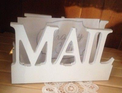 Postbox Mail Postablage Briefablage Weiß Holz Shabby Vintage NEU