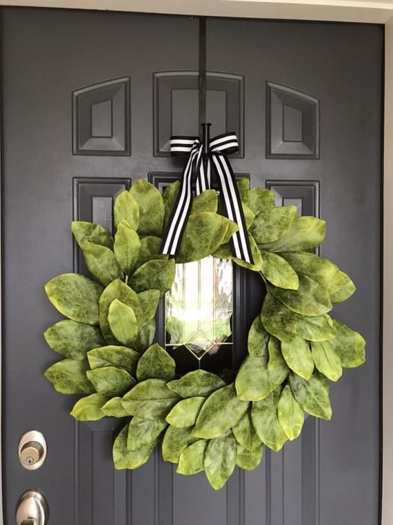 Photo of 24 in XL Farmhouse Southern Magnolia Wreath w/ Double Bow, Realistic Faux Magnolia Wreath, Fixer Upper inspired Wreath, Outdoor Wreath