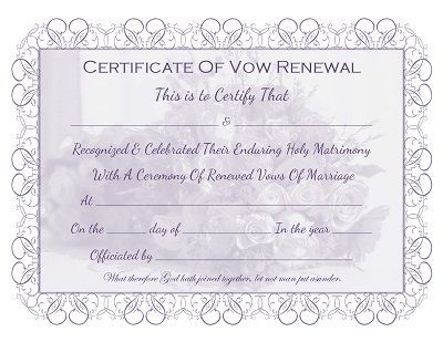 Marriage Vow Renewal Certificate Free Printable